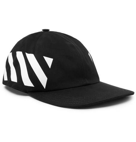 438437b2 HypeAnalyzer · OFF-WHITE Striped Diag Canvas Hat Black/White