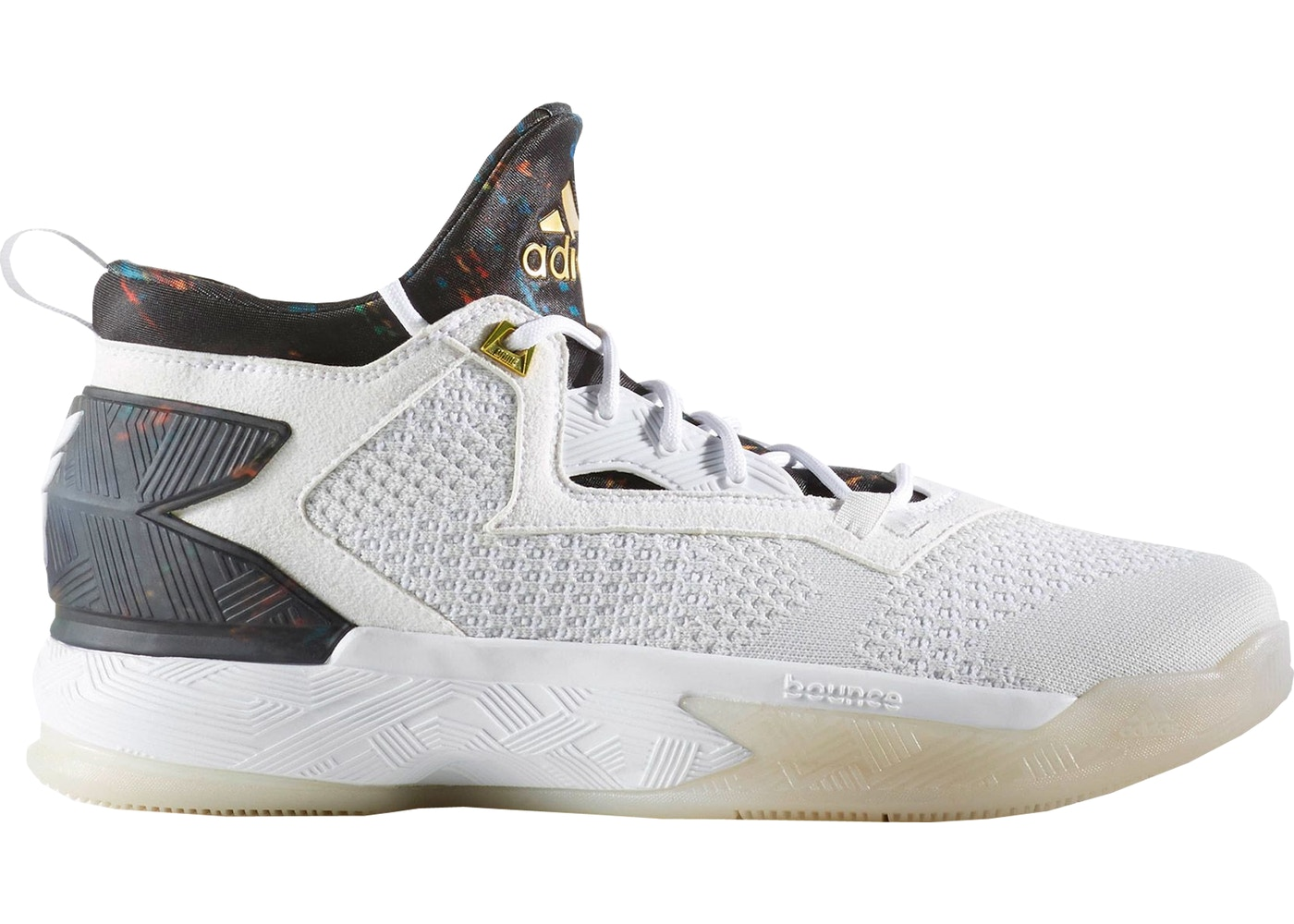 quality design cc5fd c15c9 adidas D Lillard 2 White Multi-Color