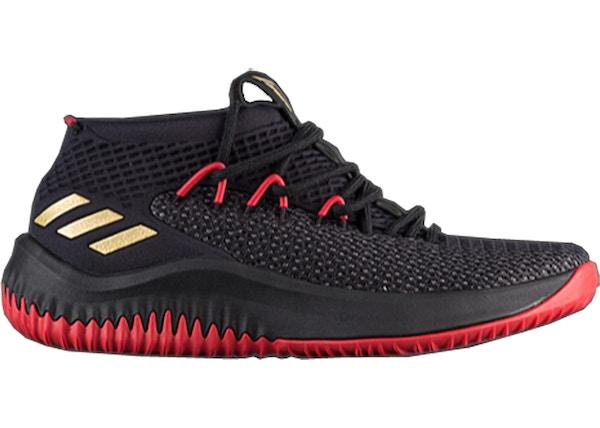 official photos 436bb 7737e adidas Dame 4 Black Gold Scarlet - CQ1422