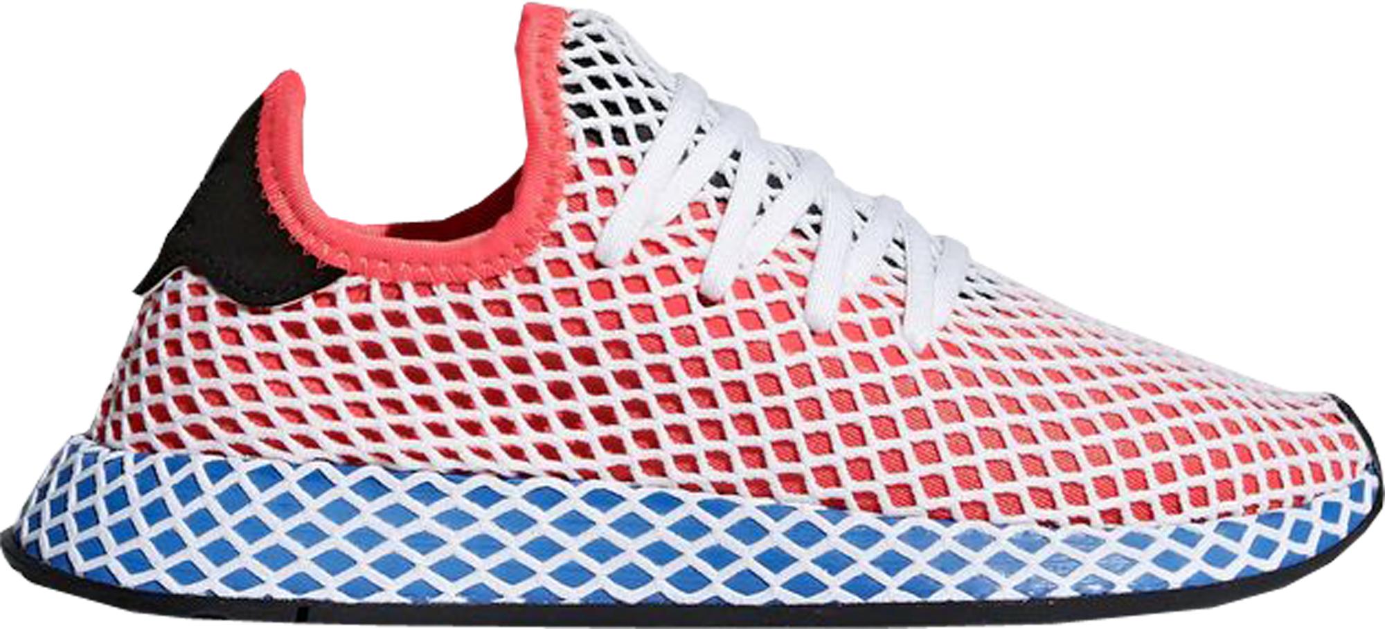 Adidas Originals Adidas Deerupt Solar Red Bluebird (youth) In Solar Red/solar Red/bluebird