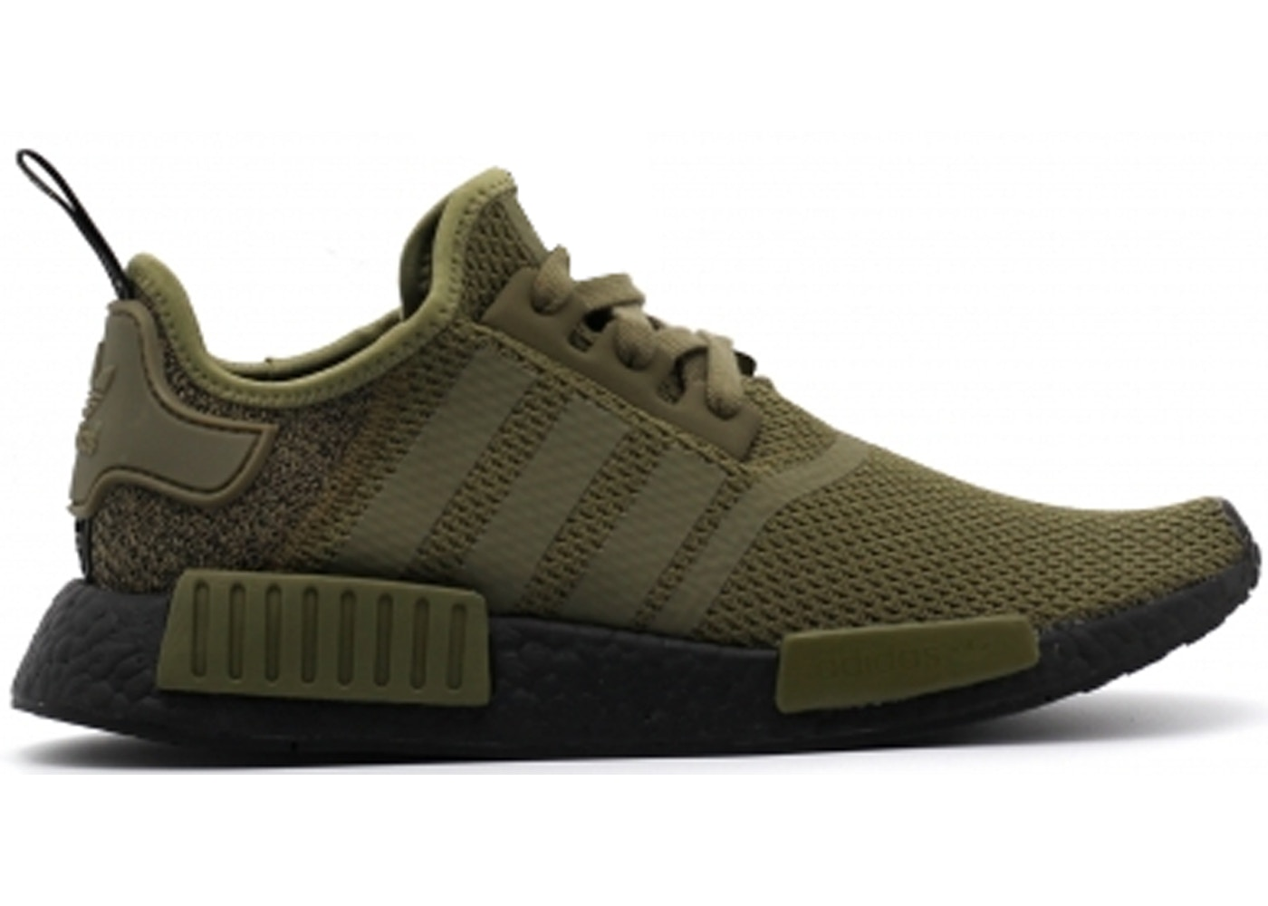 Mens Adidas Originals NMD R1 Primeknit Running Shoes Olive Green White NIKE ND006930