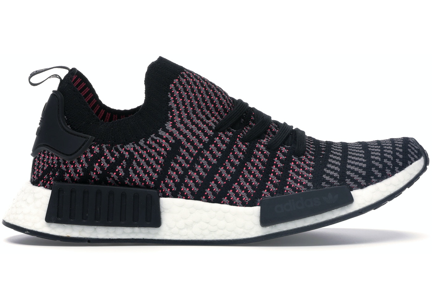 finest selection ad4ca 9e11c adidas NMD R1 STLT Black Grey Solar Pink