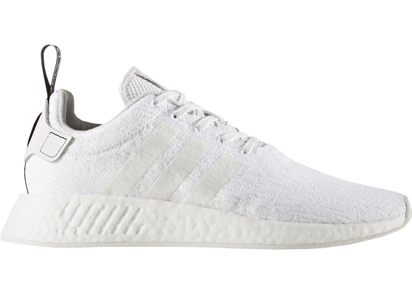 New Mens adidas Originals NMD R2 BOOST Knit Crystal White/Black BY9914 Us 6.5