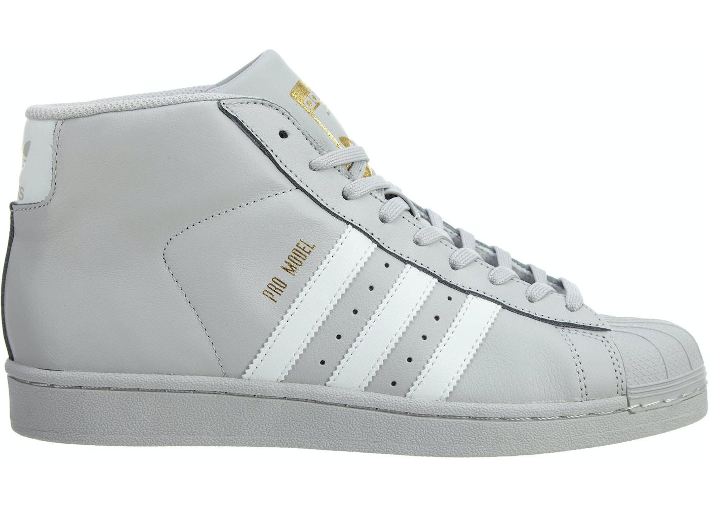 acheter pas cher 5a6f4 6285f adidas Pro Model Grey/White-Gold Metallic