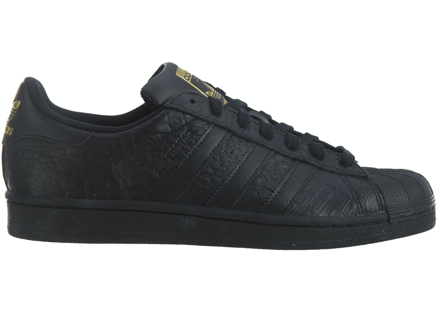 adidas superstar metallic black and gold