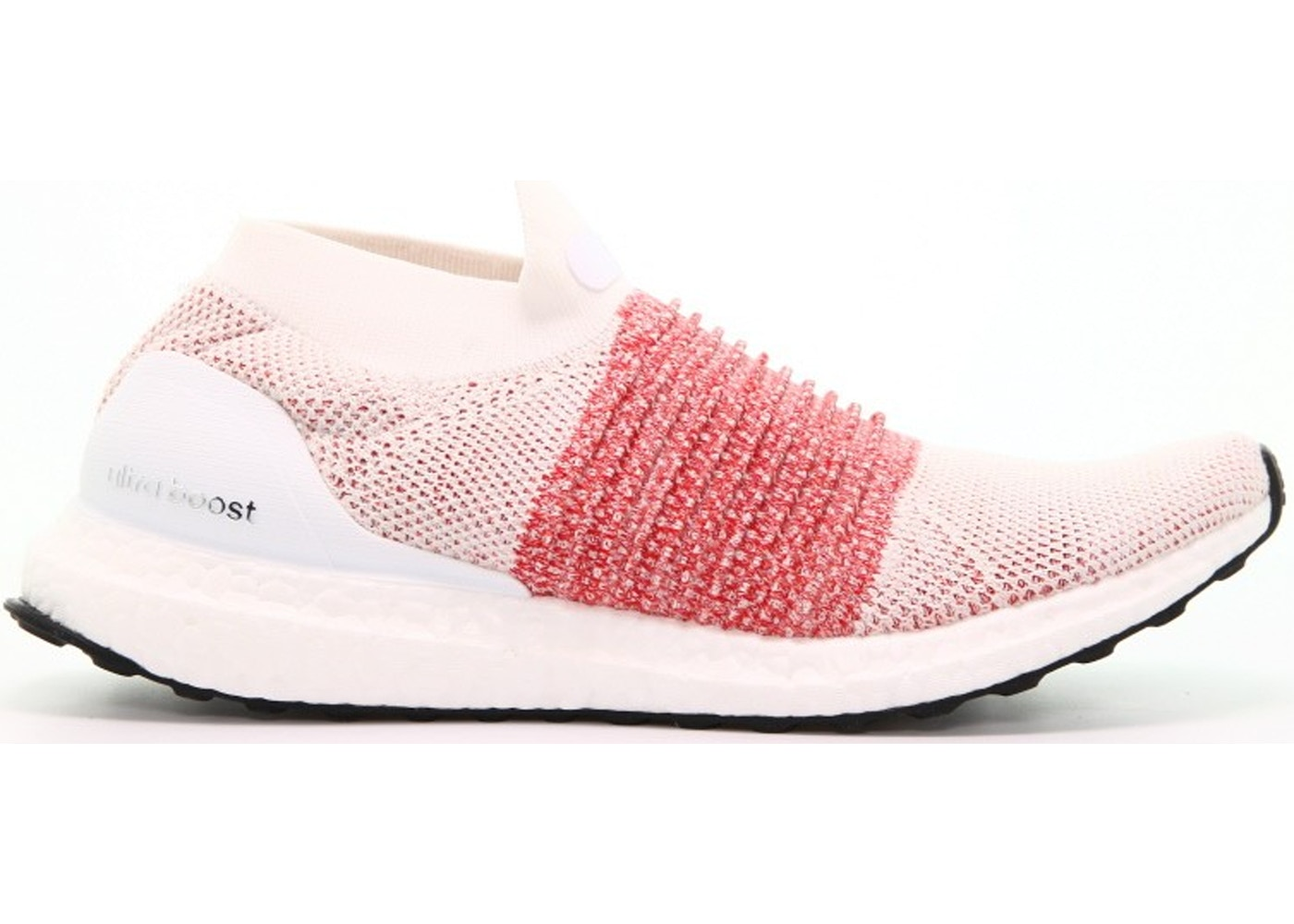 5f11f9493 adidas Ultra Boost Laceless White Scarlet - BB6136