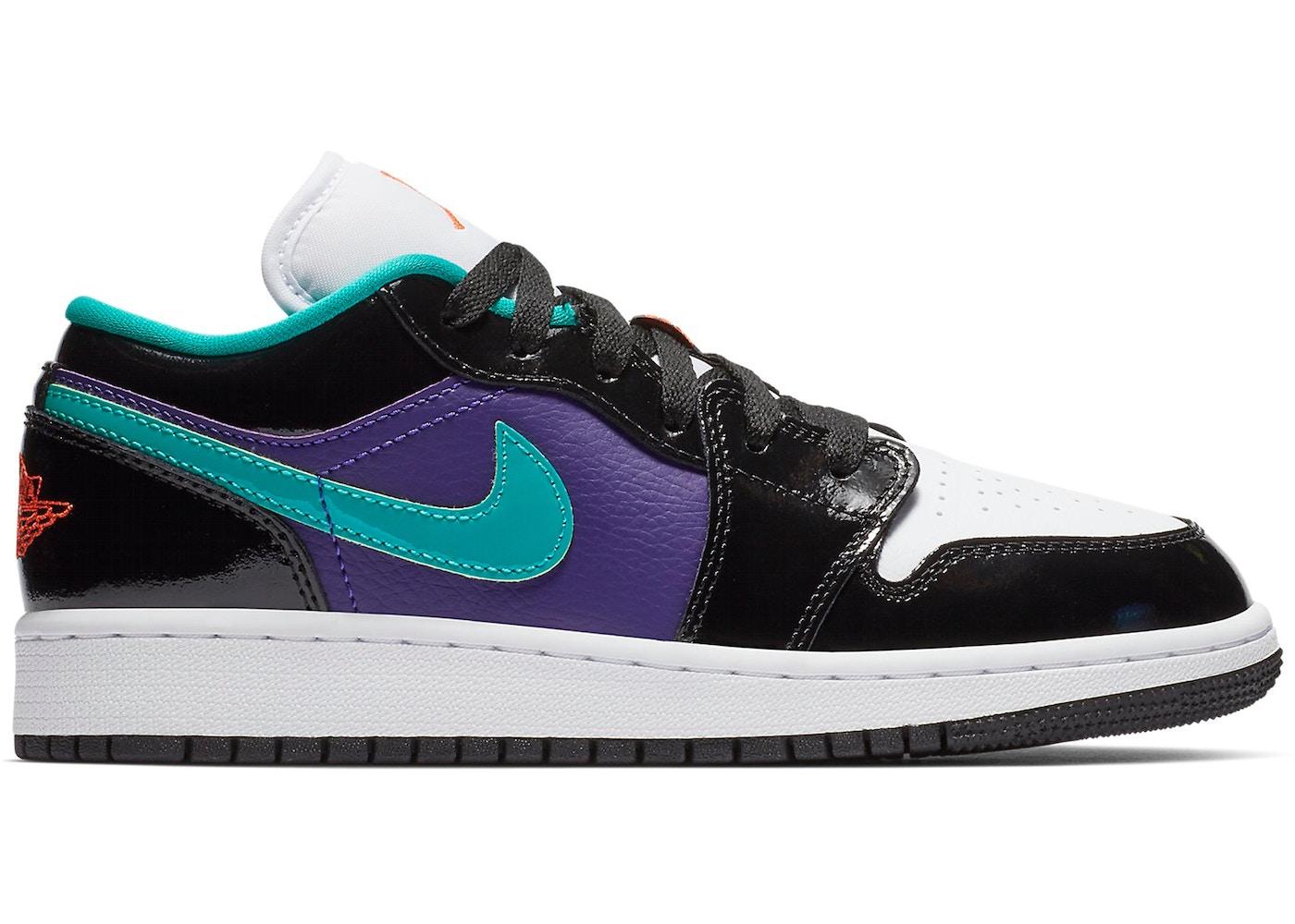 Jordan 1 Low Black Court Purple Turbo Green (GS)