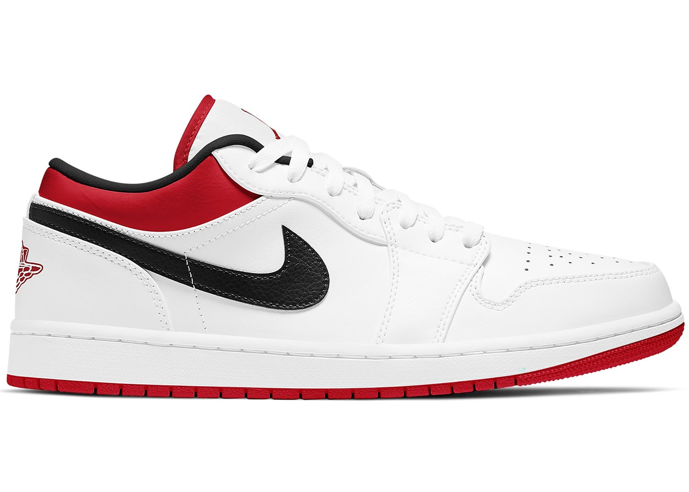 Jordan 1 Low White University Red Black - 553558-118
