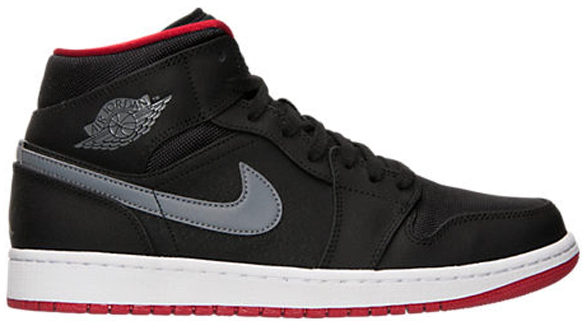 Jordan 1 Mid Black Cool Grey Gym Red