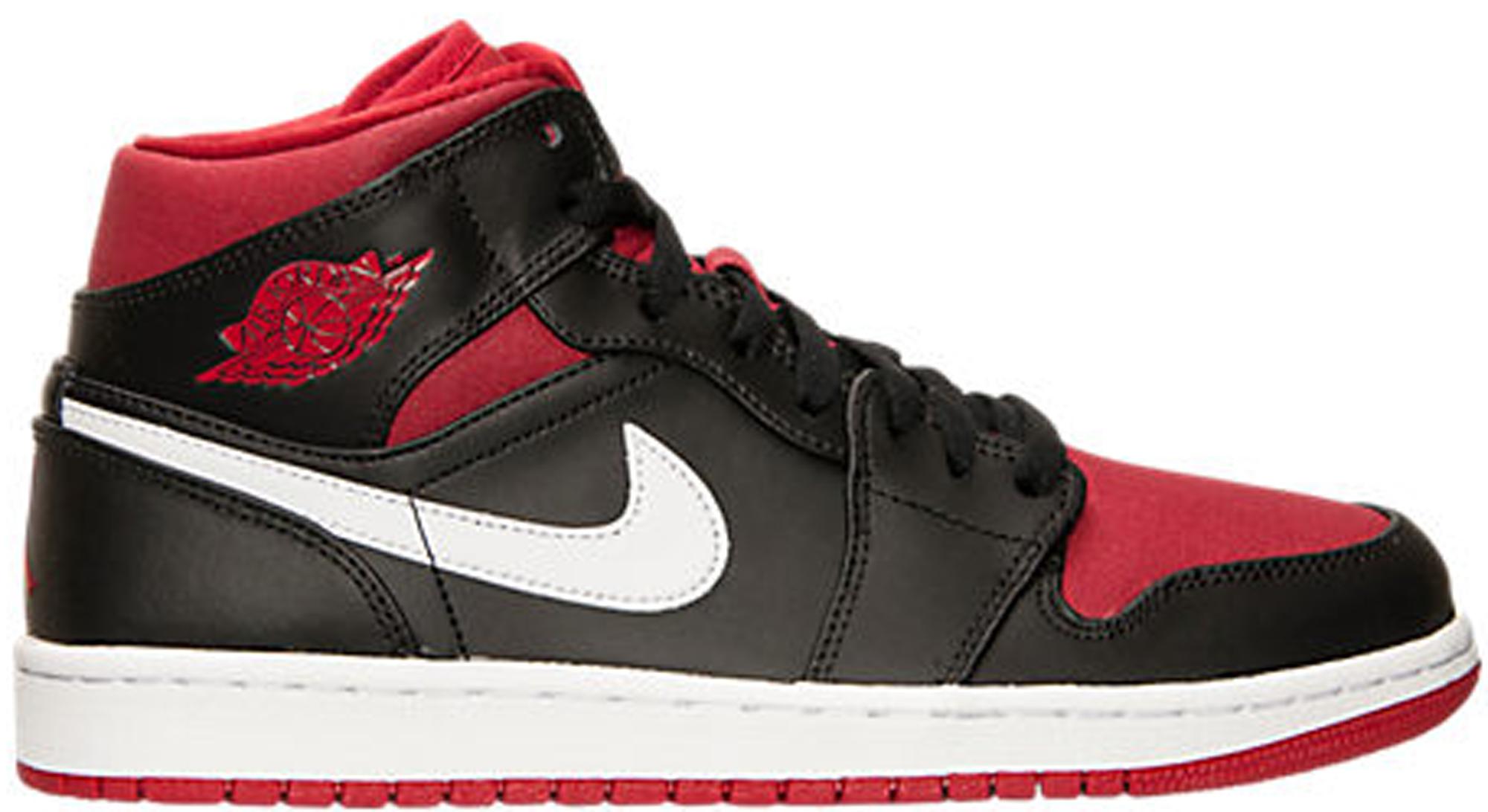 Jordan 1 Mid Black Gym Red White