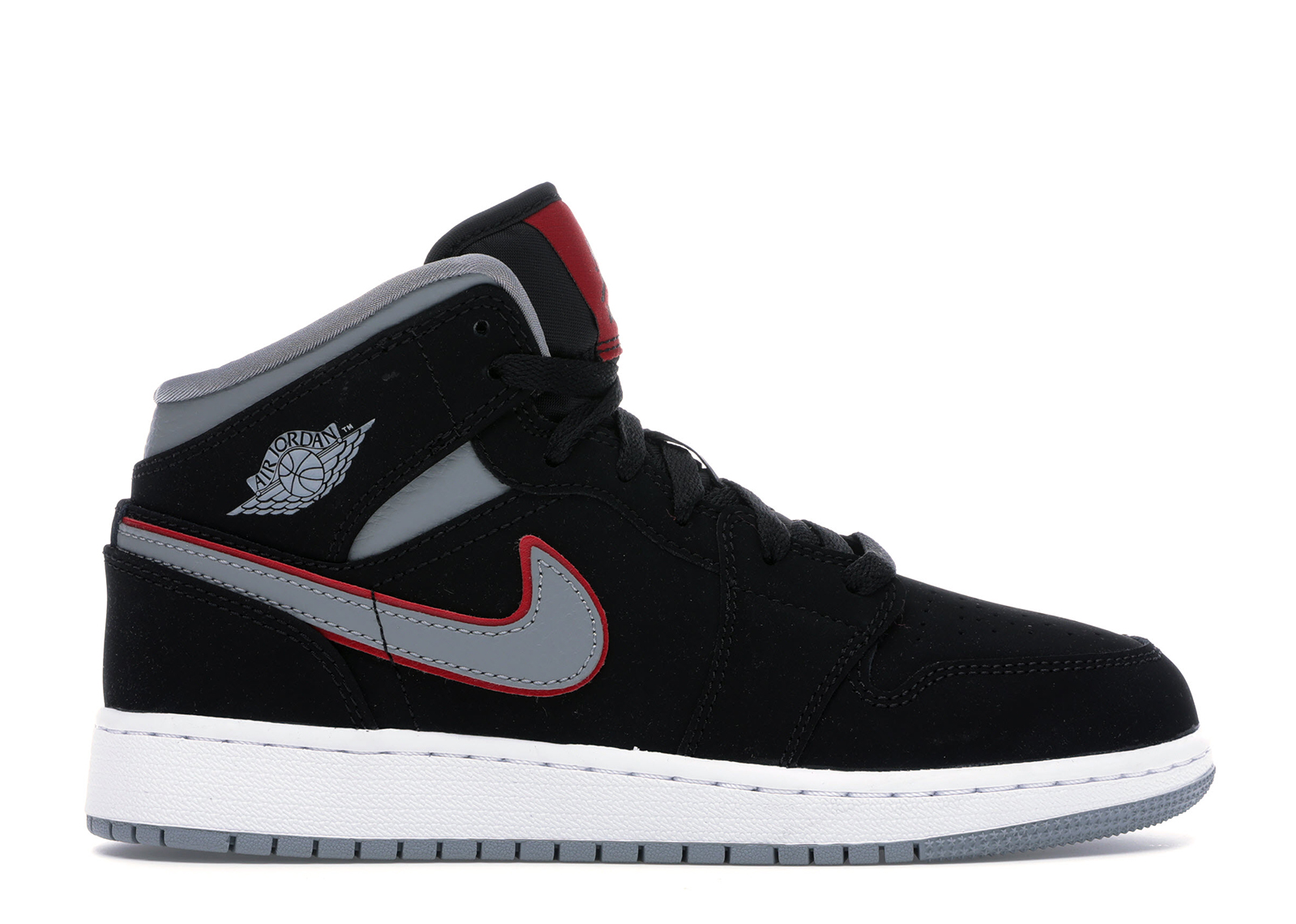 Jordan 1 Mid Black Particle Grey Gym Red (GS)