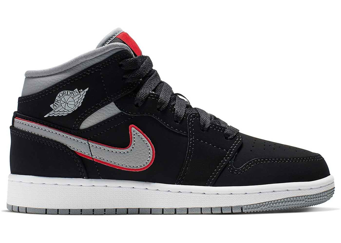 1c336966580657 Jordan 1 Mid Black Particle Grey Gym Red (GS) - 554725-060