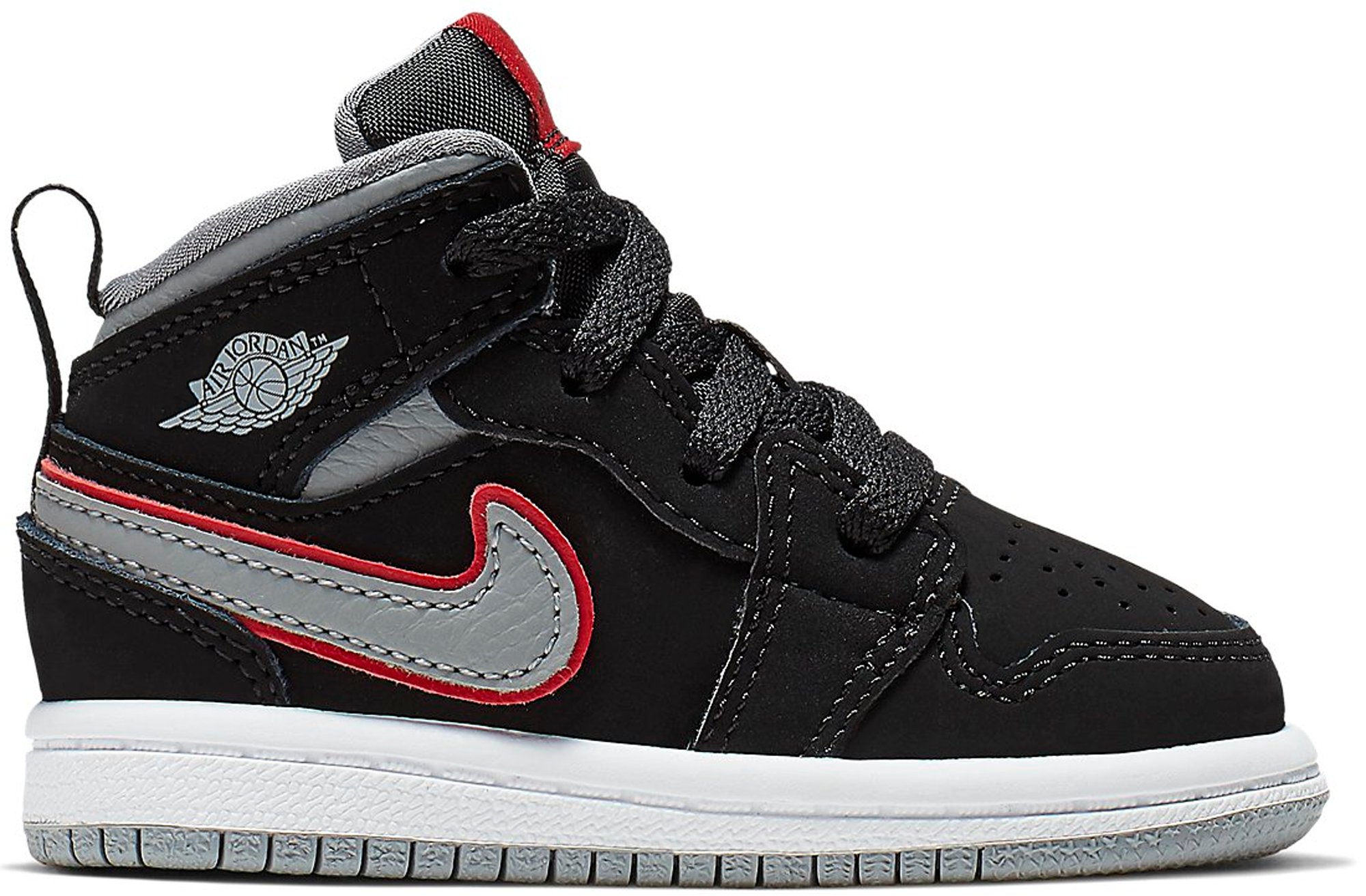 Jordan 1 Mid Black Particle Grey Gym Red (TD)
