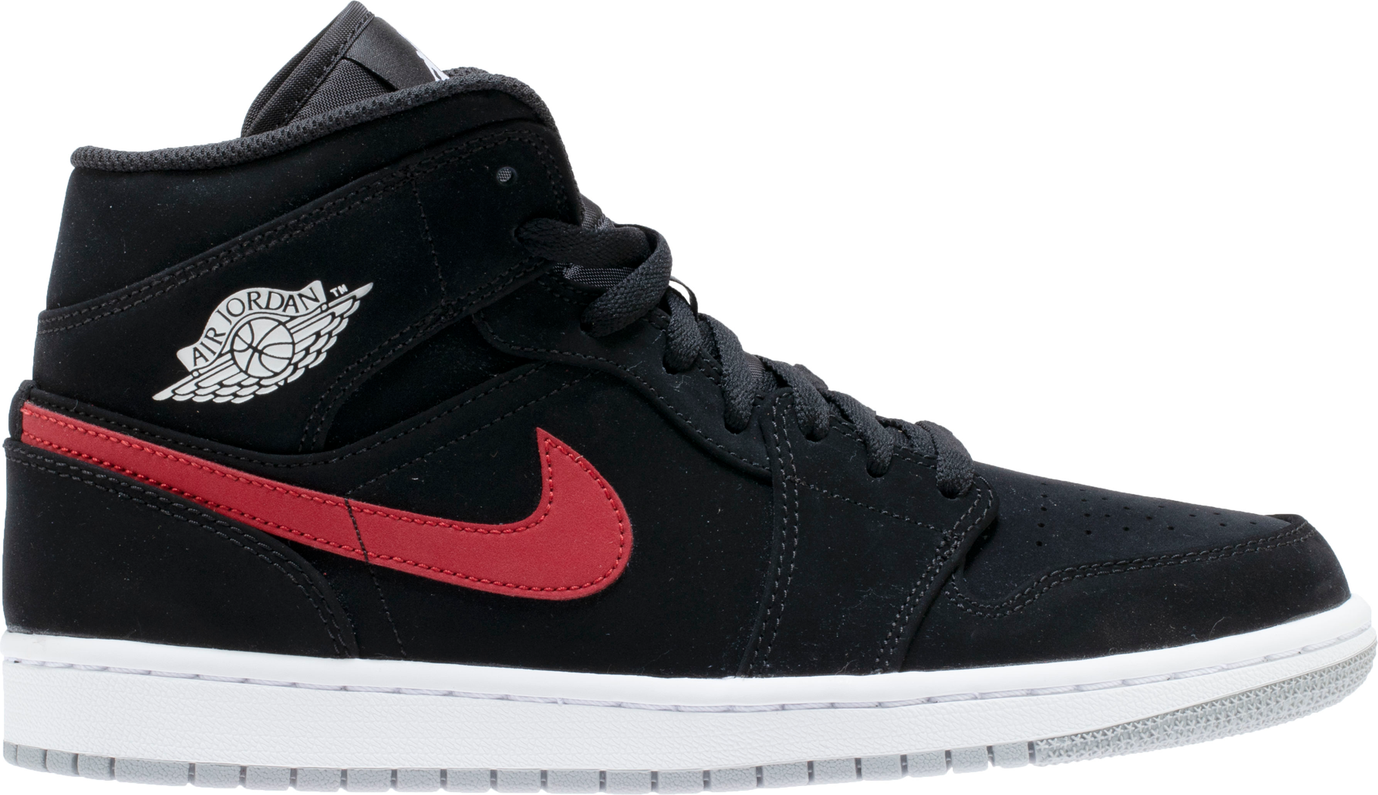 Jordan 1 Mid Multi-Color Swoosh Black