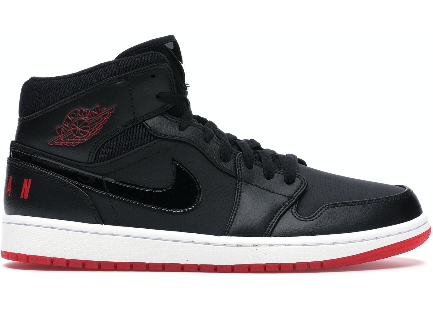 Jordan 1 Mid Black University Red Bq6578 001