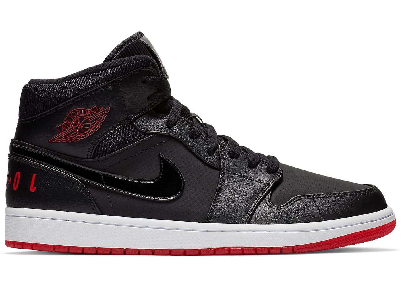 wiele modnych świeże style najlepiej sprzedający się Jordan 1 Mid Black University Red