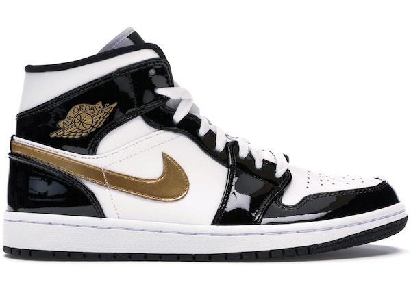low priced fef62 015bb Jordan 1 Mid Patent Black White Gold