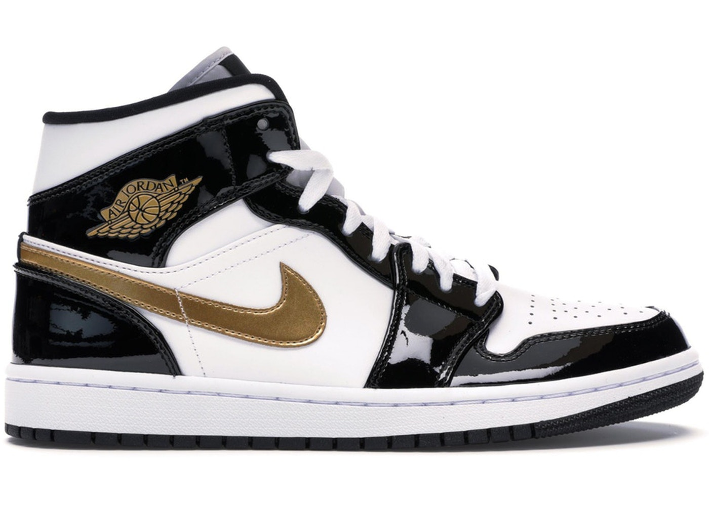 9612a28a9bb7 Jordan 1 Mid Patent Black White Gold - 852542-007