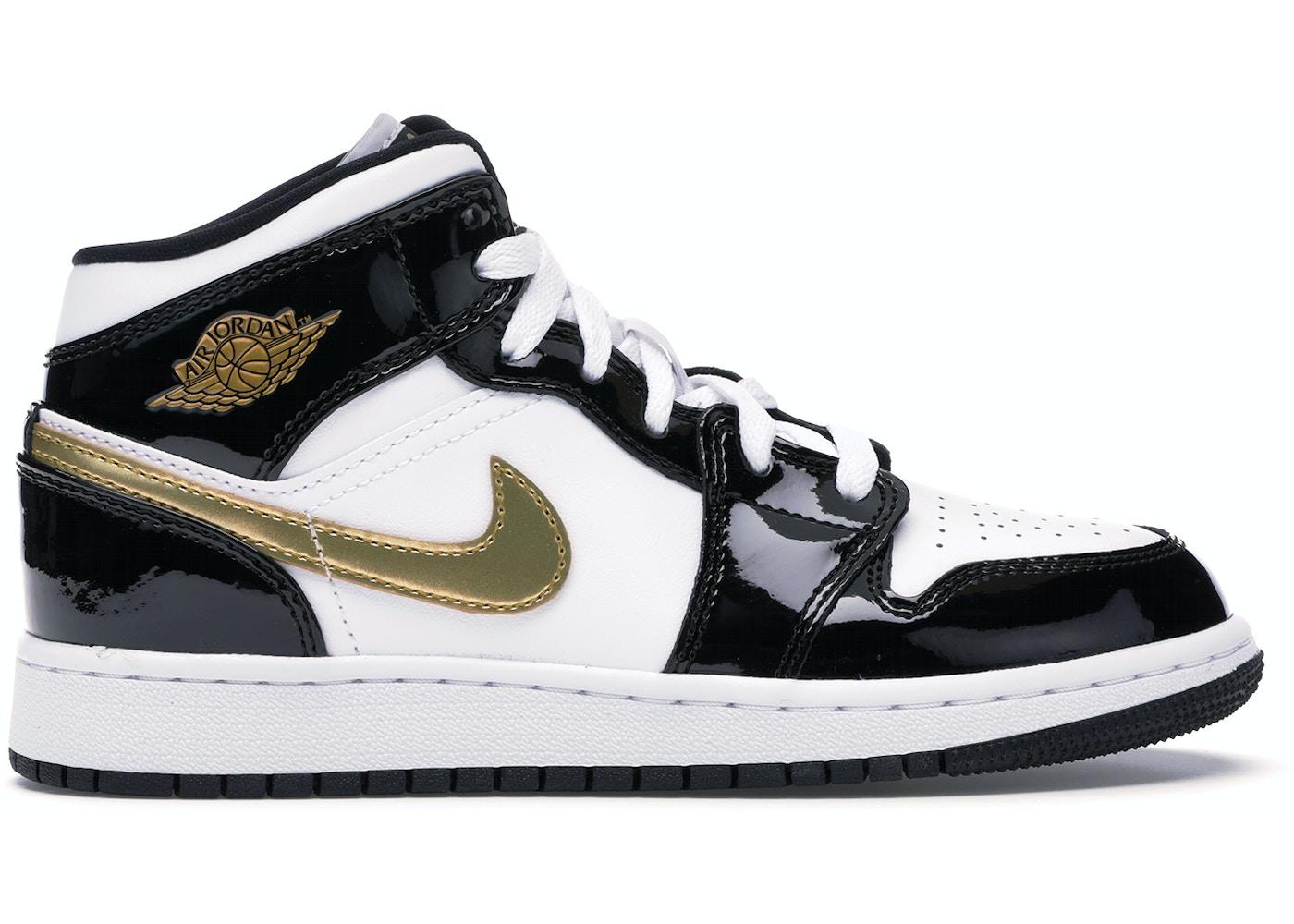 0ed84154e7 Jordan 1 Mid Patent Black White Gold (GS)