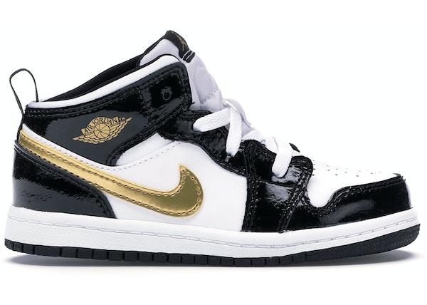 f0a10df69b9 Jordan 1 Mid Patent Black White Gold (TD)