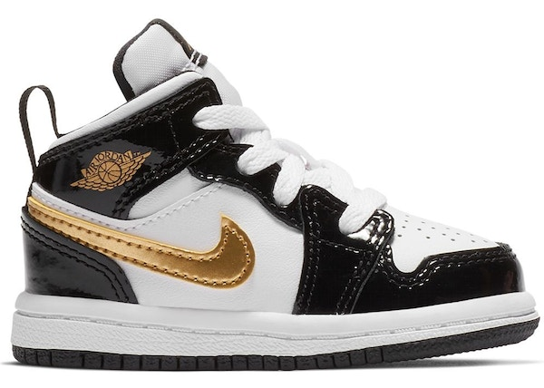 the latest 06c33 3c6f1 Jordan 1 Mid Patent Black White Gold (TD)