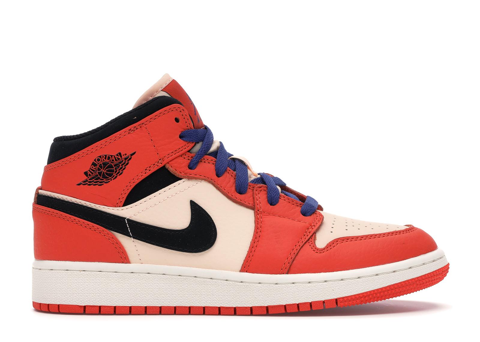 Nike Air Jordan 1 MID SE Team Orange Black Crimson Tint GS BQ6931 800 Size 4Y-7Y