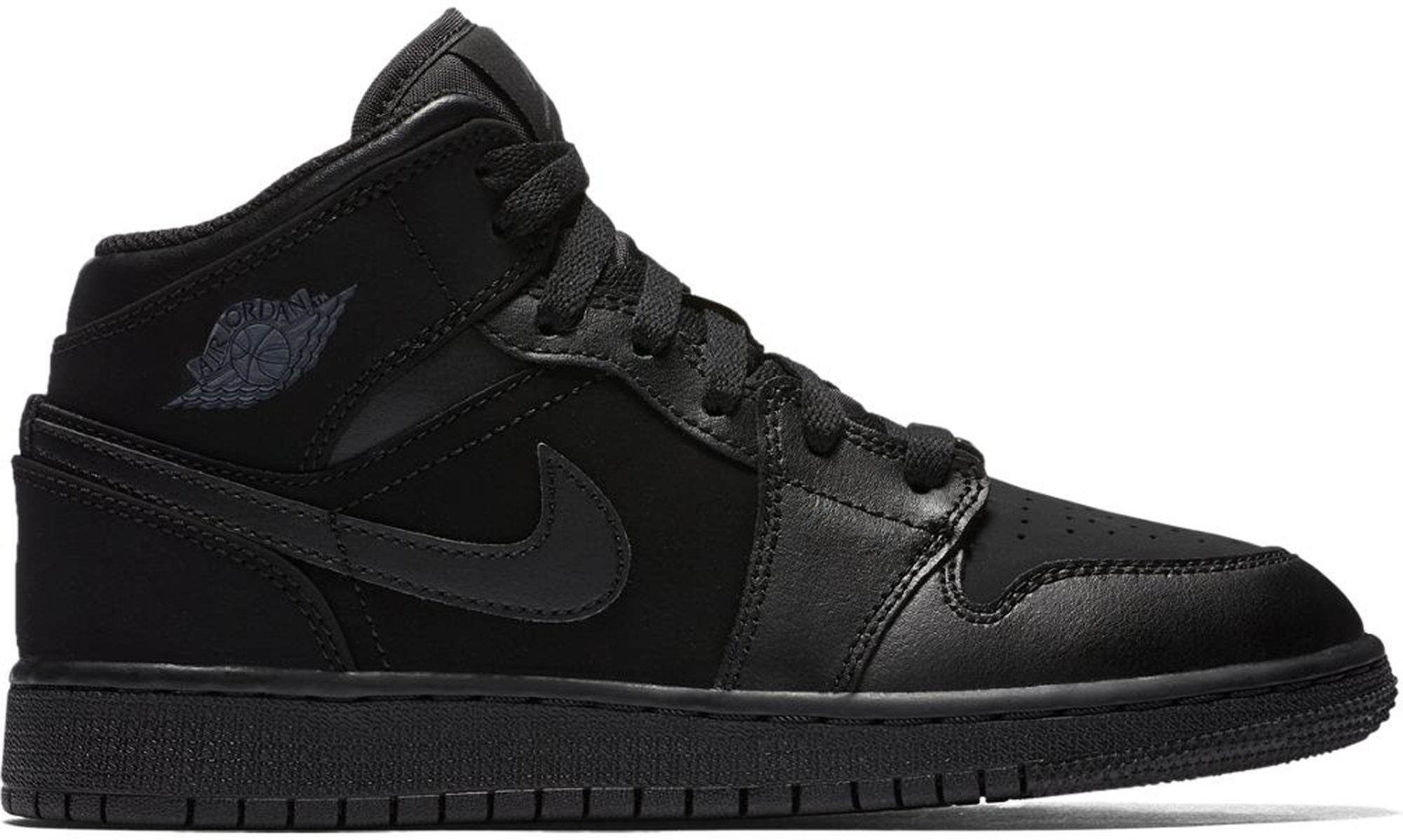 GS 554725 050 Jordan Mid 1 Black//Dark Grey-Black