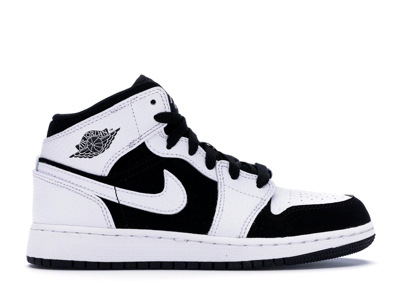 Jordan 1 Mid White Black (GS) - 554725-113