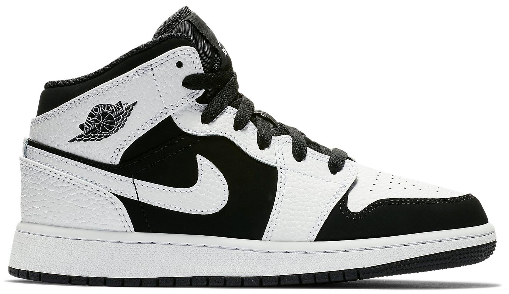 Jordan 1 Mid White Black (GS)
