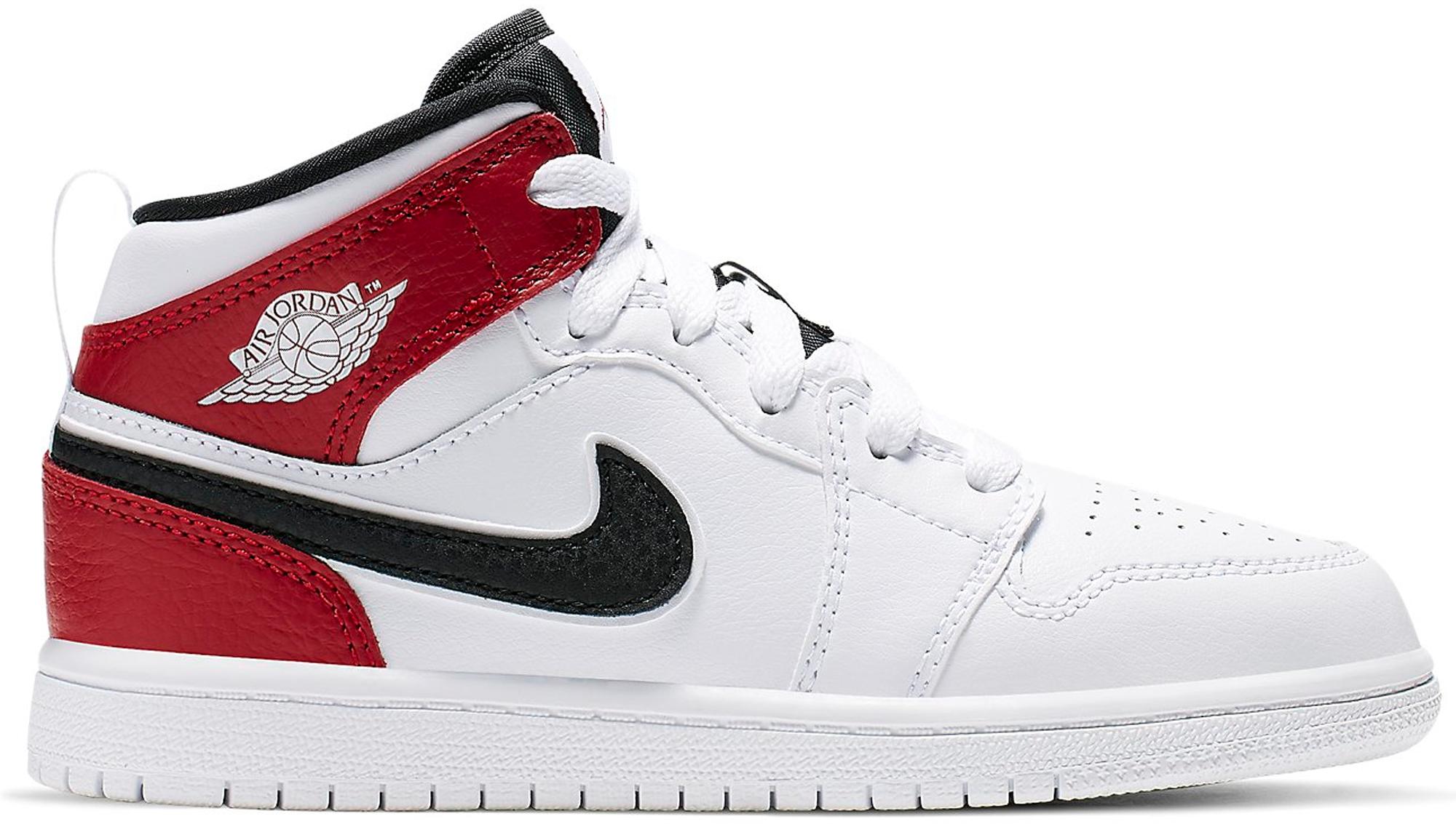 Jordan 1 Mid White Black Gym Red (PS