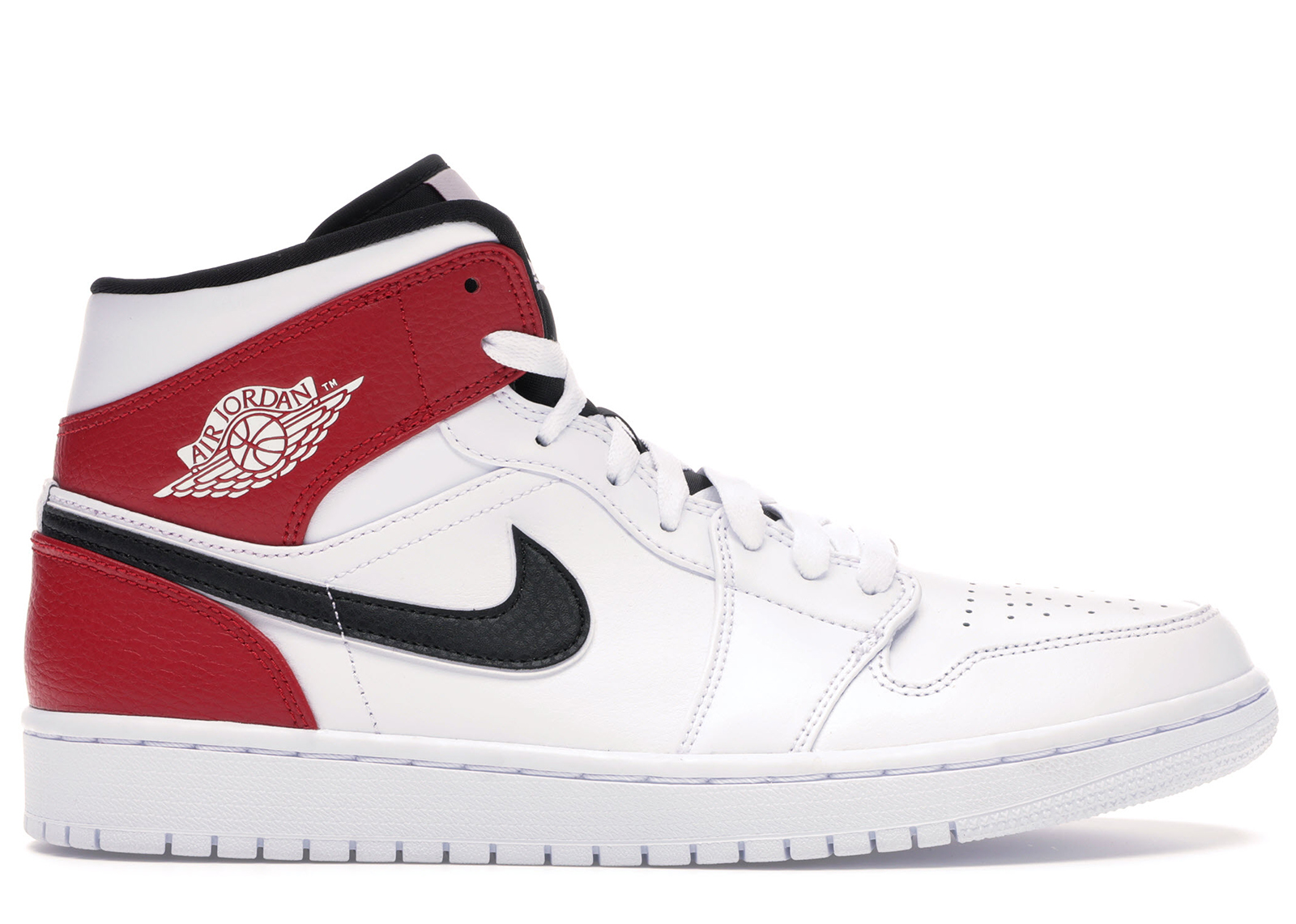 Jordan 1 Mid White Black Gym Red