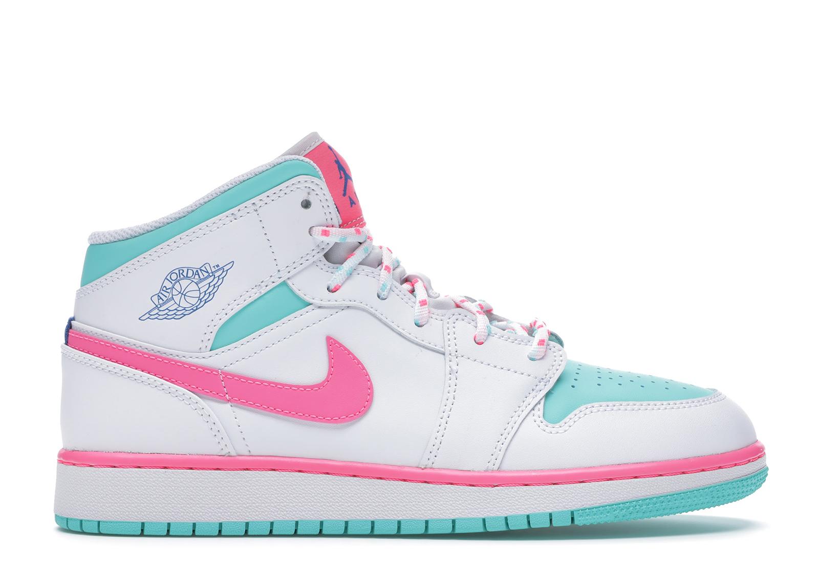 Jordan 1 Mid White Pink Green Soar (GS