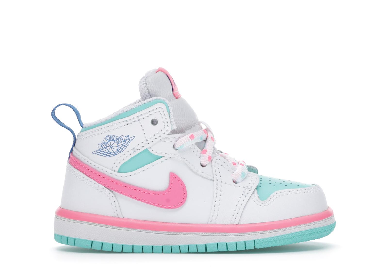 Jordan 1 Mid White Pink Green Soar (TD