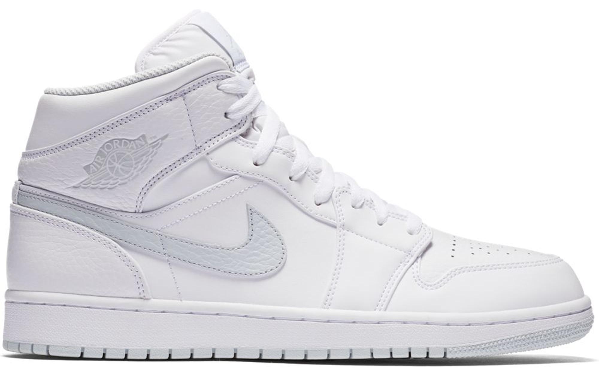 Jordan 1 Mid White Pure Platinum Swoosh