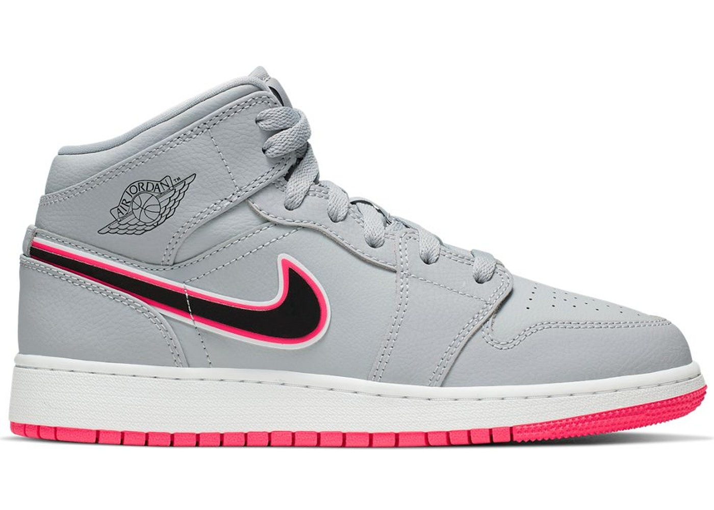 more photos 70a98 ca951 Jordan 1 Mid Wolf Grey Racer Pink Black (GS)