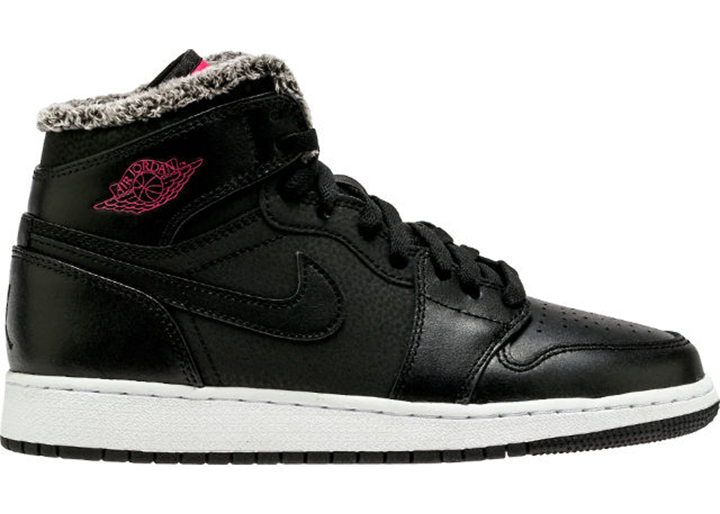 outlet store 28a80 14ff8 Jordan 1 Retro High Fleece Black Pink (GS) - 332148-014