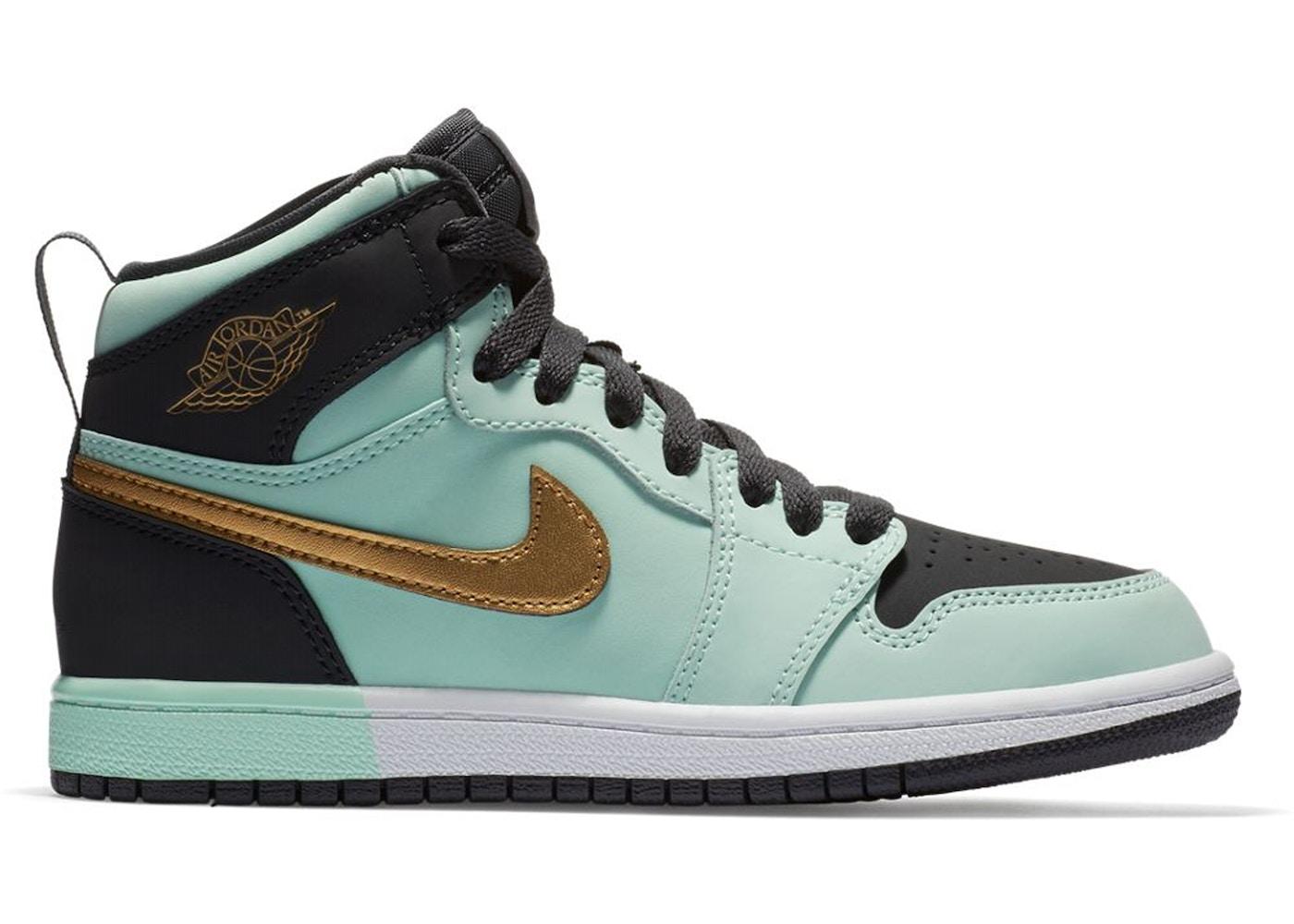 sports shoes ba085 b5c50 Jordan 1 Retro High Mint Foam Anthracite Metallic Gold (PS) - 705321-300