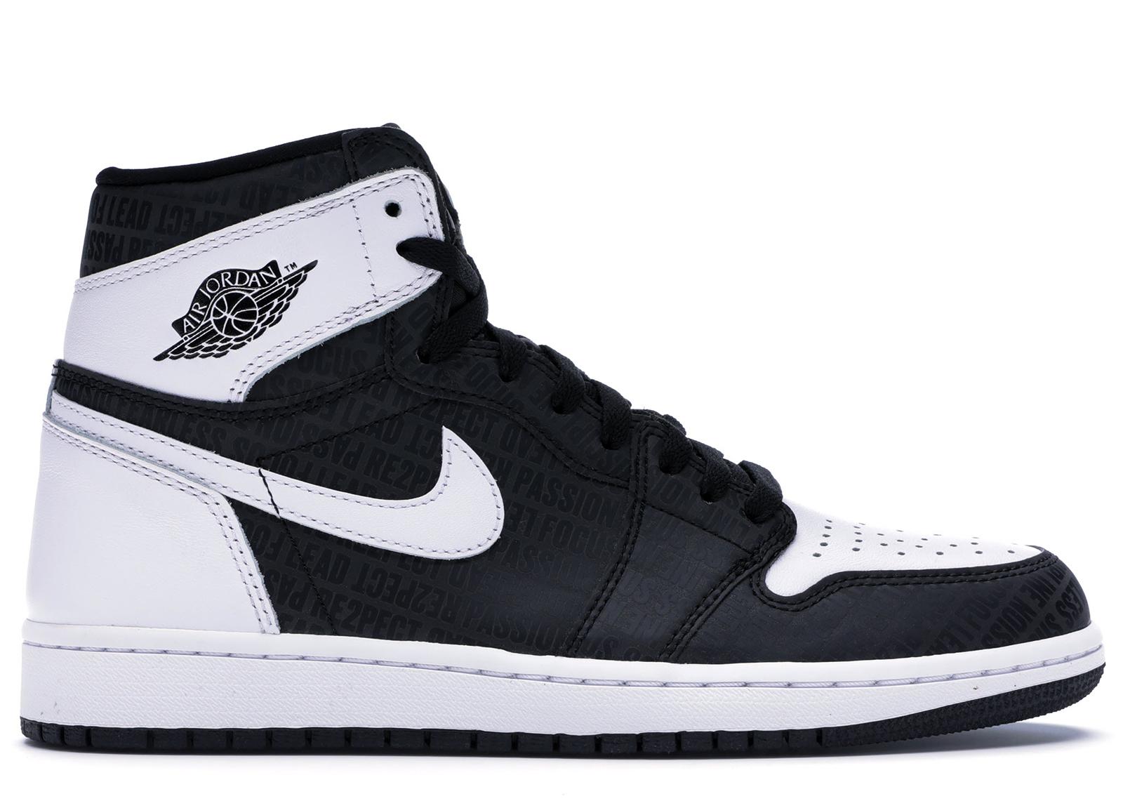 2017 Nike Air Jordan 1 OG size 13 Re2pect Derek Jeter Black White 555088-008