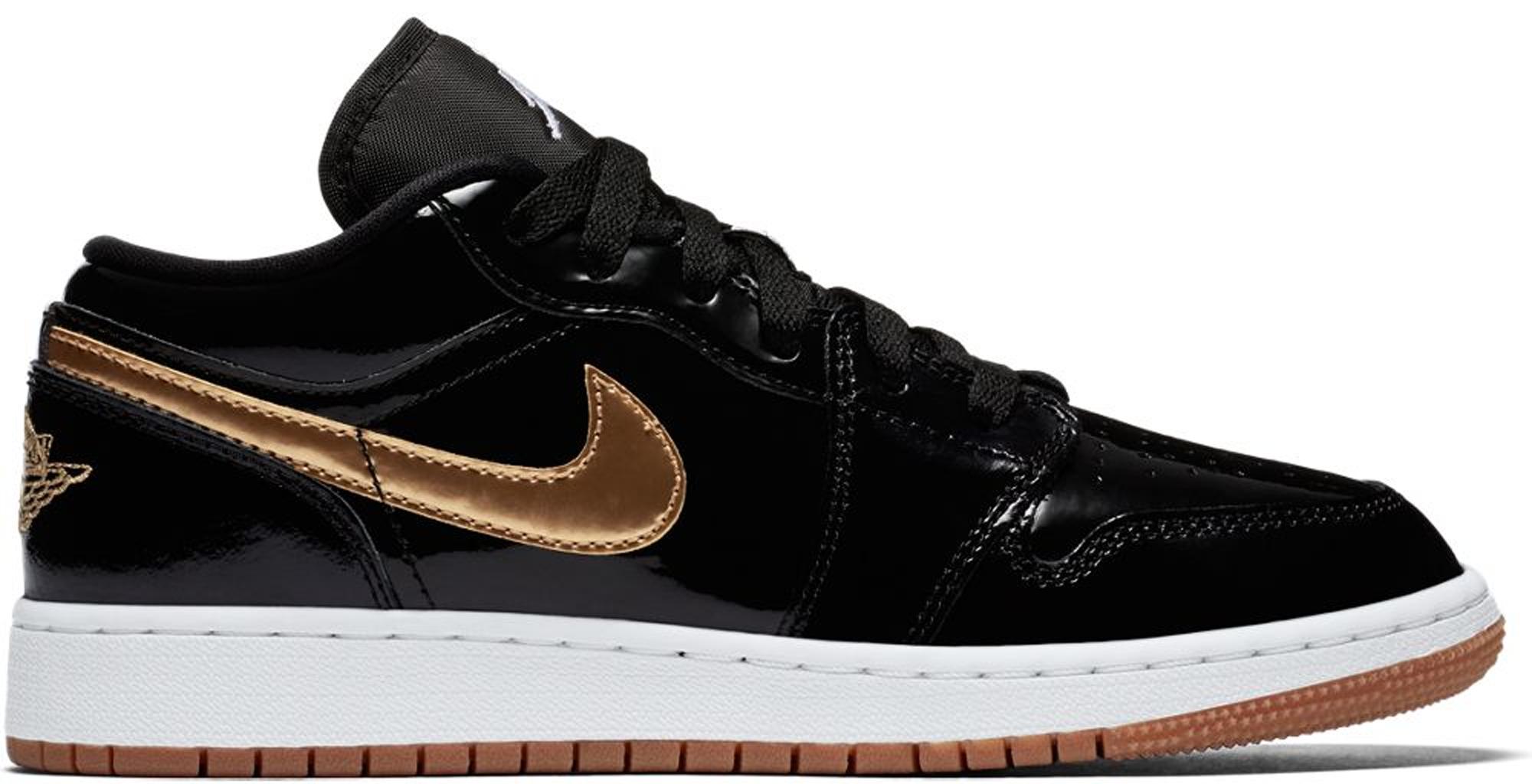 Jordan 1 Retro Low Black Gold Patent