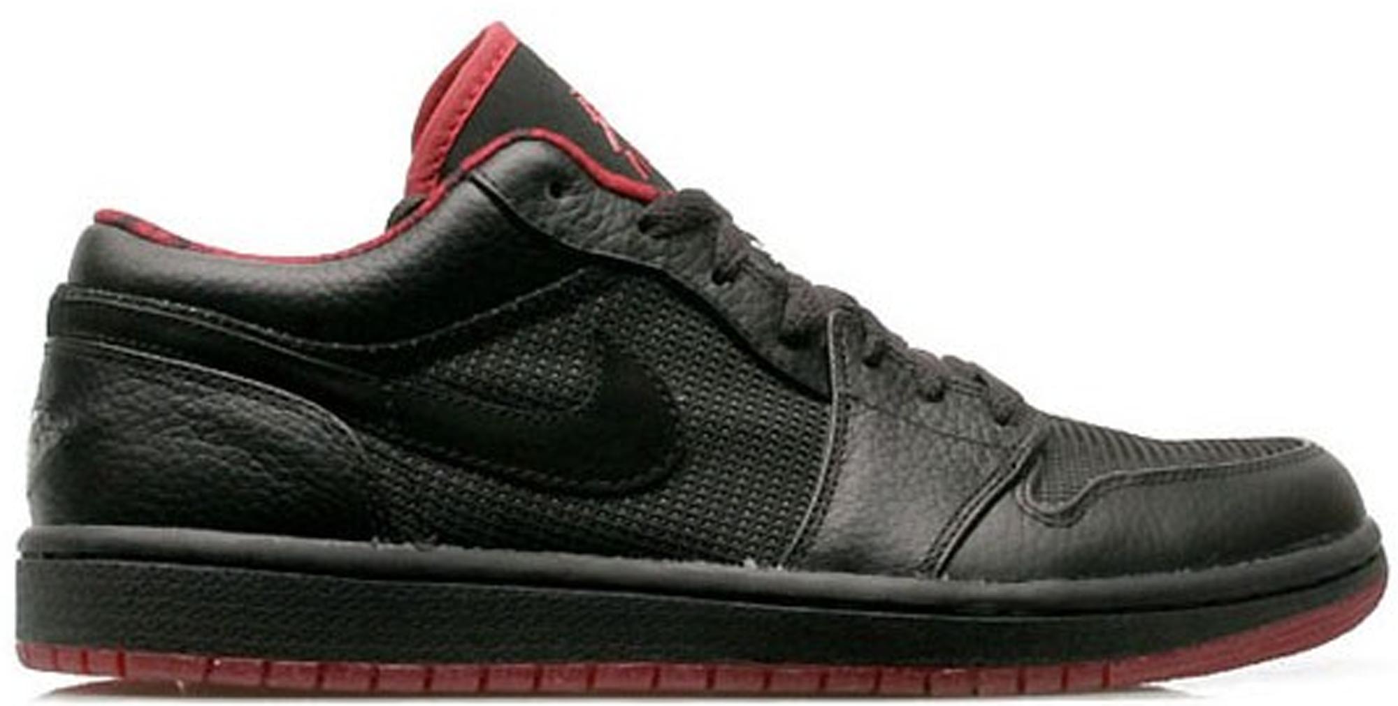 red and black low top jordans