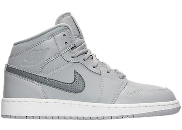 bfd4a8d0c5dc Jordan 1 Retro Mid Wolf Grey Cool Grey (GS) - 554725-033