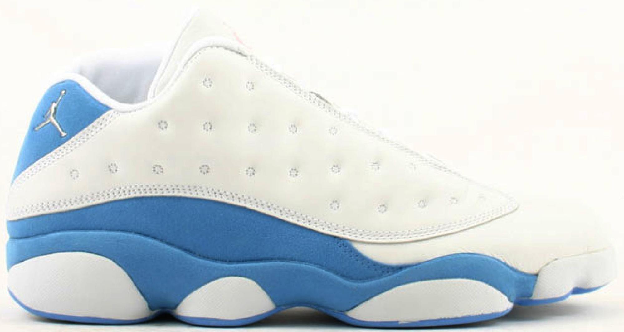 white and blue jordans 13