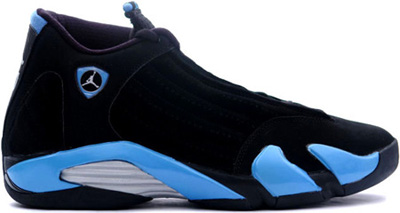 air jordan 14 black and university blue