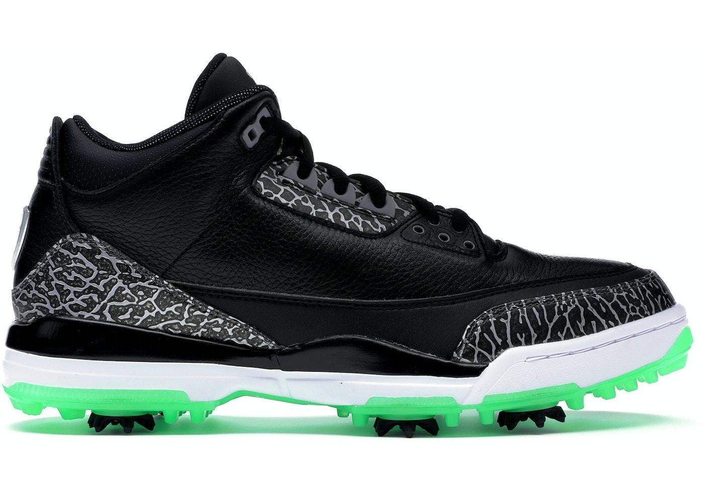 4514b39f2509 Jordan 3 Retro Golf Black Green Glow - AJ3783-001
