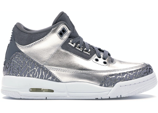 official photos 56f11 04a40 Jordan 3 Retro Premium Heiress Metallic Silver (GS)