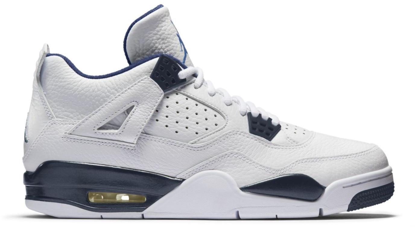 white and blue jordans 4