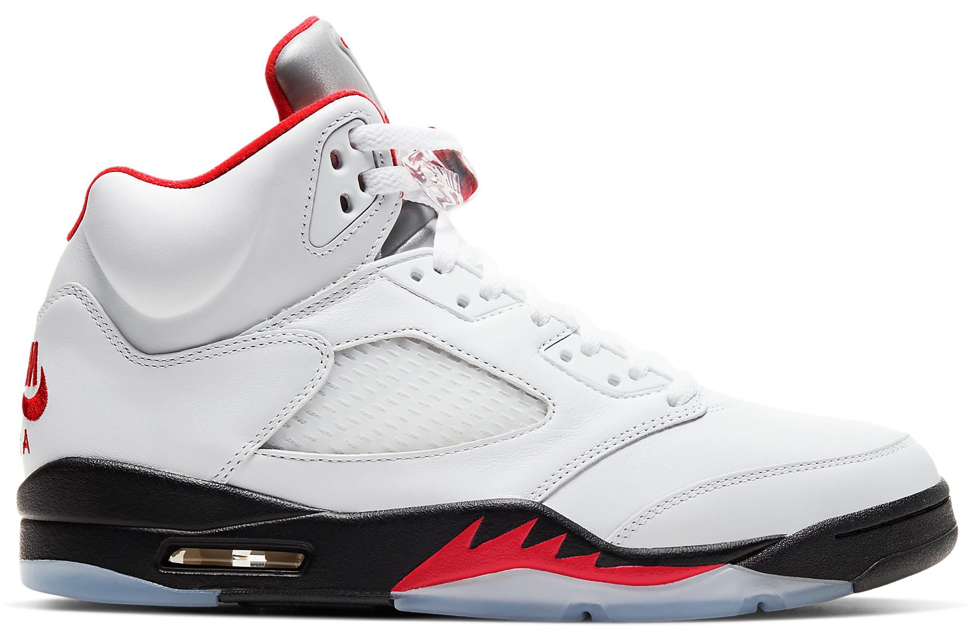Jordan 5 Retro Fire Red Silver Tongue