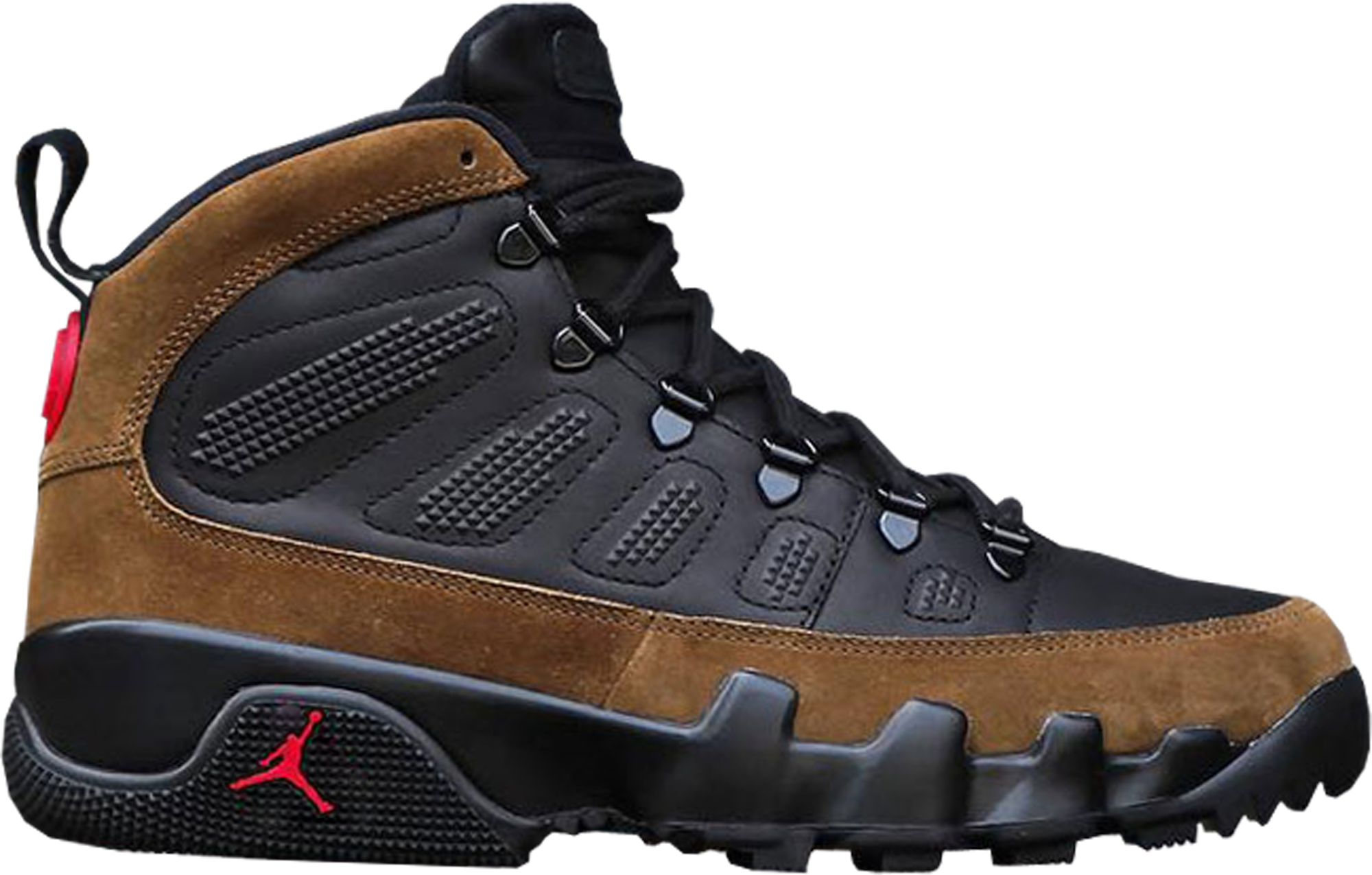 air jordan ix retro boot nrg black & light gums stargate