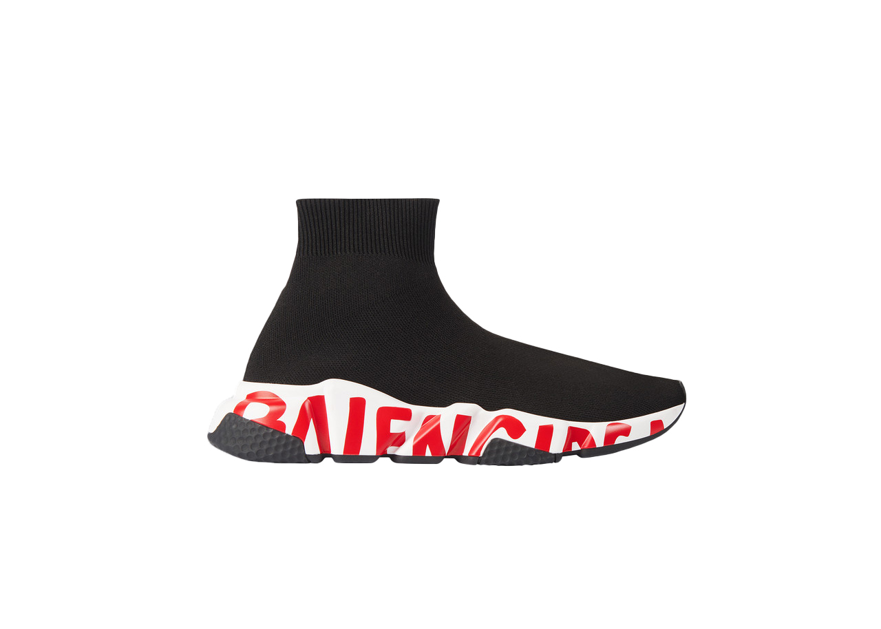 Pre-owned Balenciaga Graffiti Speed Red Sole (w) In Black/red/white