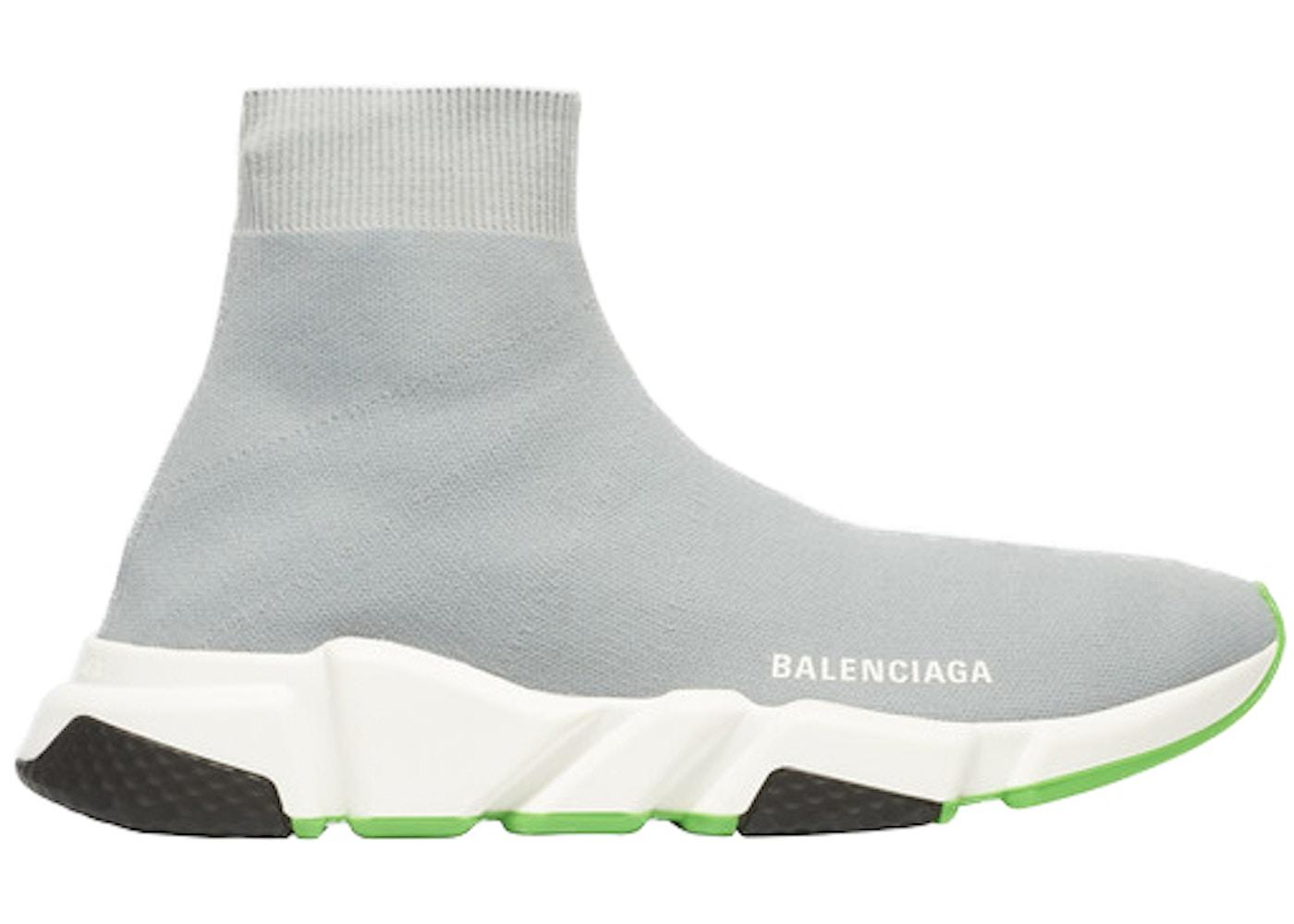 fashion style on feet shots of so cheap Balenciaga Speed Trainer Gray Green